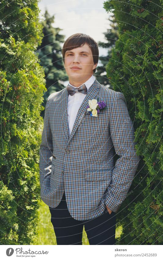 portrait of a stylish groom on the wedding day Human being Nature Youth (Young adults) Man Summer Beautiful Young man Landscape Tree 18 - 30 years Face Adults