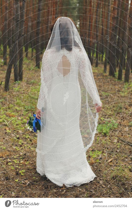 bride with a veil on her head: back view Lifestyle Shopping Luxury Beautiful Leisure and hobbies Entertainment Party Event Going out Feasts & Celebrations