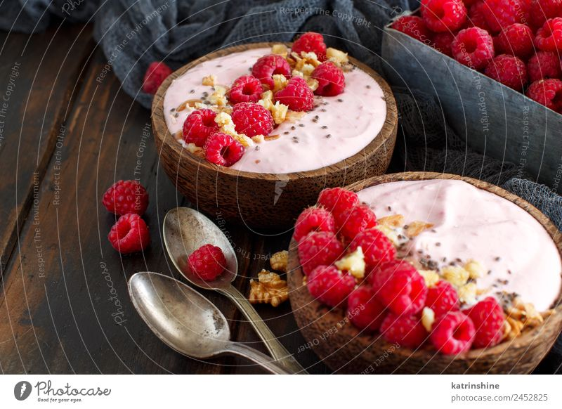 Raspberries smoothie bowls Yoghurt Fruit Dessert Nutrition Breakfast Vegetarian diet Diet Bowl Spoon Summer Fresh Pink Red White background Berries blended chia