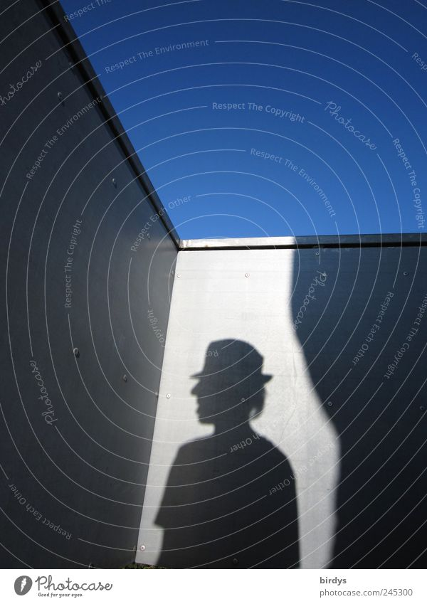 Human being Blue Summer Black Gray Head Masculine Esthetic Stand Uniqueness Exceptional Serene Hat Handrail Surrealism
