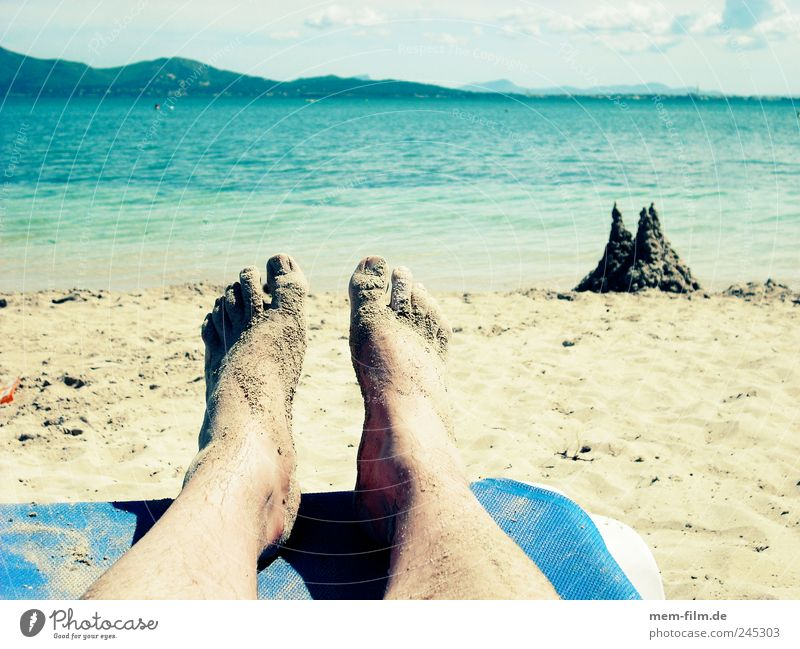 relaxation Vacation & Travel Relaxation Sandcastle Deckchair Beach Break put one's legs up dig Children's game Sand toys