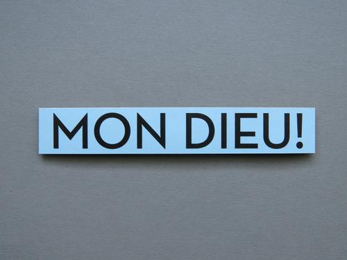 MON DIEU! Characters Signs and labeling Communicate Blue Gray Black Emotions Enthusiasm Belief Surprise Discover Religion and faith Exclamation Scare Marvel