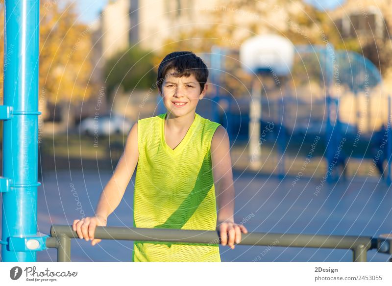 teen wearing a yellow basketball sleeveless smiling Child Human being Youth (Young adults) Man Summer Relaxation Joy Adults Lifestyle Yellow Sports Happy