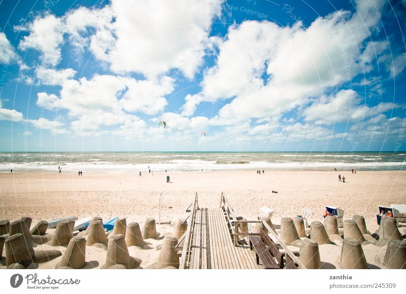 beach Landscape Sand Water Sky Clouds Horizon Summer Beautiful weather Waves Coast Beach North Sea Ocean Relaxation Vacation & Travel Tourism Germany Sylt