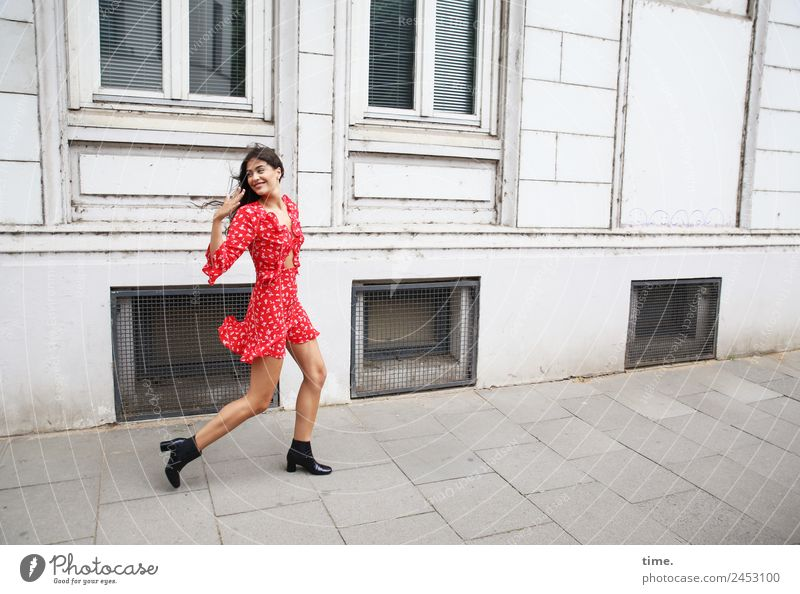 Woman Human being Town Beautiful House (Residential Structure) Adults Life Lanes & trails Feminine Movement Facade Going Happiness Joie de vivre (Vitality)