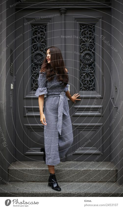 Woman Human being Beautiful House (Residential Structure) Dark Adults Life Feminine Facade Moody Stairs Door Stand Observe To hold on Concentrate