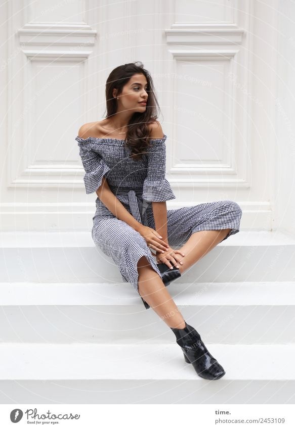 jessica Feminine Woman Adults 1 Human being Stairs Door Suit Boots Brunette Long-haired Curl Observe Looking Sit Elegant Beautiful Fashion Colour photo