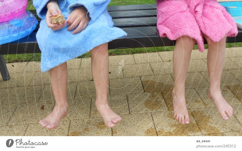 Break for two bathrobes ;-) Bread Wellness Swimming & Bathing Swimming pool Girl Boy (child) Brother Sister Infancy Feet 2 Human being 3 - 8 years Child Stone