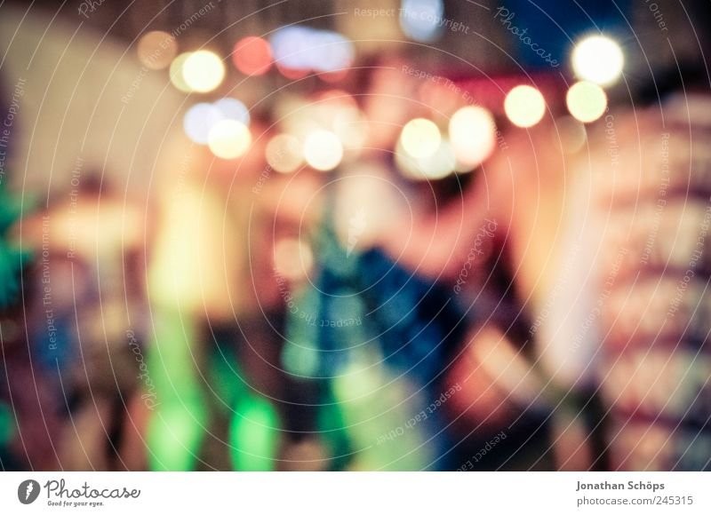Circular lights / dancers. Lifestyle Joy Human being Group Esthetic Emotions Moody Dance Party City life Night life Multicoloured Illuminate Movement Blur