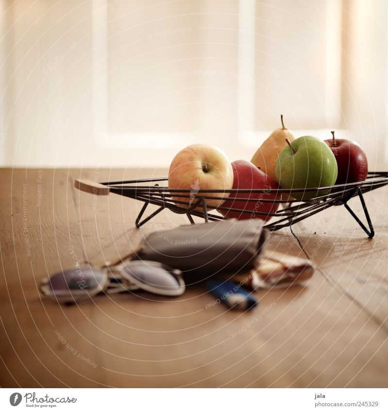 kitchen table Food Fruit Apple Pear Bowl Living or residing Flat (apartment) Decoration Table Eyeglasses Sunglasses Money purse Lighter tobacco Esthetic