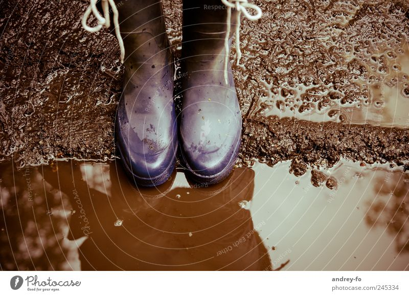 Water Blue Cold Rain Legs Brown Dirty Earth Wet Hiking In pairs Floor covering Violet Boots Pavement Puddle