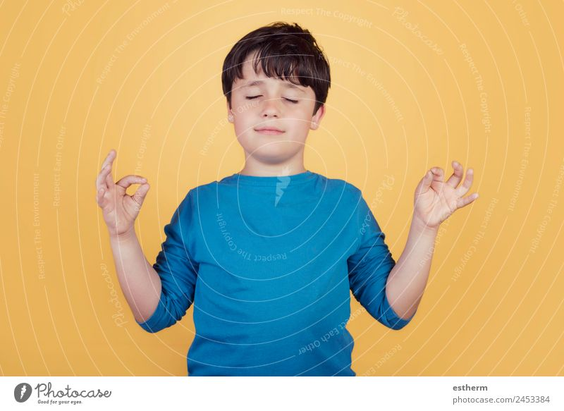 Portrait of child on yoga meditation Child Human being Relaxation Calm Joy Lifestyle Healthy Emotions Boy (child) Happy Think Contentment Masculine Infancy