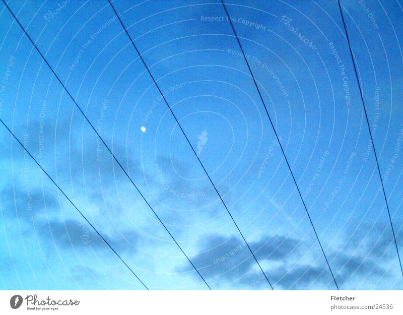 Sky Clouds Energy industry Electricity Technology Cable Moon Wire Transmission lines Plus Electrical equipment