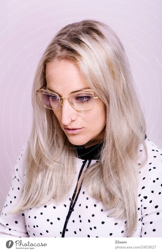 eyewear Lifestyle Elegant Style Young woman Youth (Young adults) 30 - 45 years Adults Fashion Blouse Eyeglasses Blonde Long-haired Cool (slang) Hip & trendy