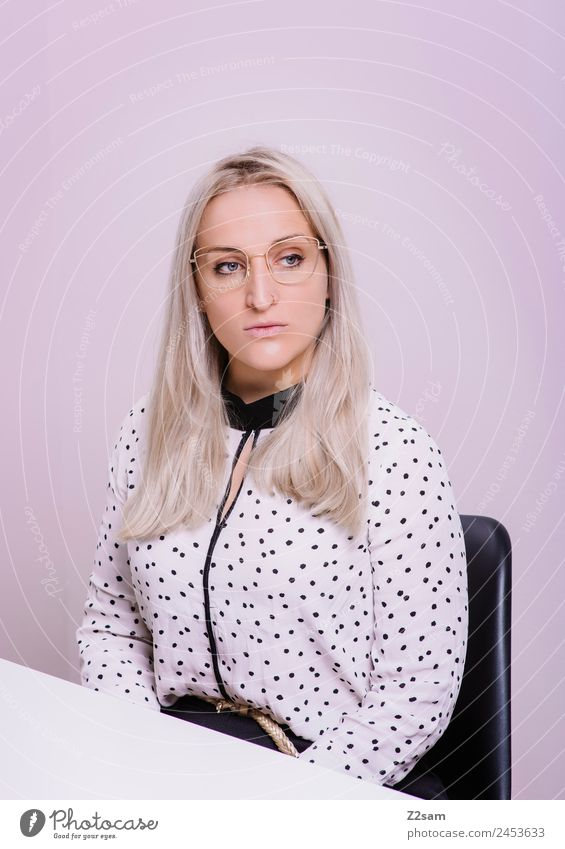 Youth (Young adults) Young woman Beautiful 18 - 30 years Lifestyle Adults Feminine Style Fashion Pink Design Elegant Blonde Power Cool (slang) Eyeglasses