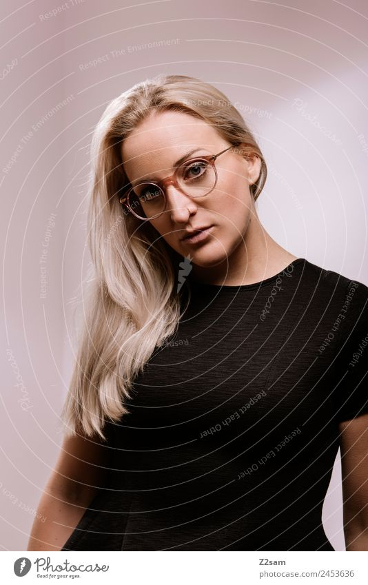 Youth (Young adults) Young woman Beautiful Black 18 - 30 years Lifestyle Adults Feminine Style Fashion Design Modern Elegant Blonde Cool (slang) Eyeglasses