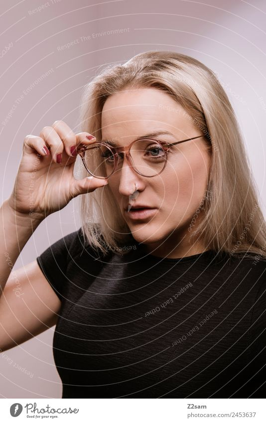 Youth (Young adults) Young woman Beautiful Lifestyle Adults Feminine Style Fashion Design Modern Elegant Blonde Power Perspective Cool (slang) Eyeglasses