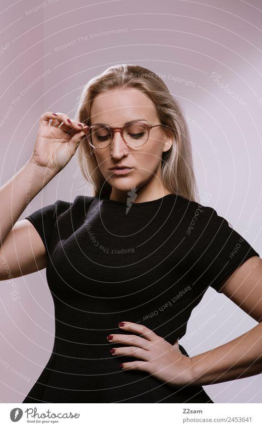 OPTICALLY appealing Lifestyle Elegant Beautiful Young woman Youth (Young adults) 18 - 30 years Adults 30 - 45 years Fashion Dress Piercing Eyeglasses Blonde