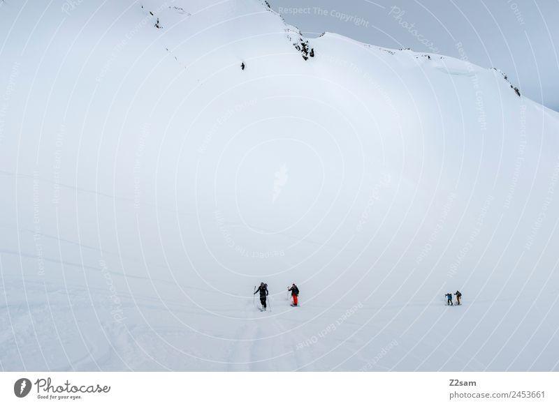 Ski tour | Ascent | Arlberg | Austria Vacation & Travel Tourism Adventure Winter Mountain Skiing Group Nature Landscape Bad weather Alps Snowcapped peak Going