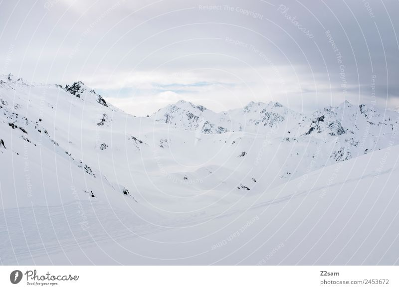 Arlberg | Austria Environment Nature Landscape Winter Bad weather Ice Frost Snow Alps Mountain Snowcapped peak Dark Cold Gloomy Adventure Loneliness Idyll