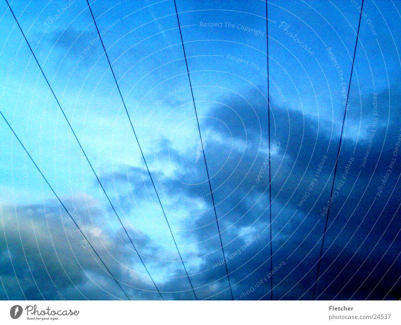 Sky Clouds Energy industry Electricity Technology Cable Wire Transmission lines Plus Electrical equipment