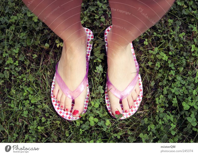 downstairs. Art Esthetic Retro Styling Hip & trendy Funny Footwear Beach shoes Nail polish Checkered Clover Odor Feet Toes Legs Open-air swimming pool