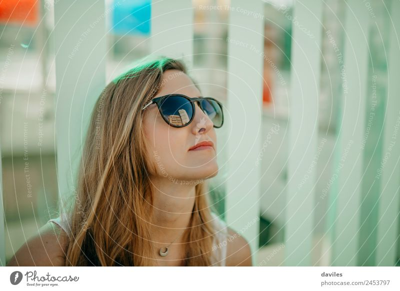 Young blonde girl wearing sunglasses outdoors. Lifestyle Style Joy Beautiful Face Summer Human being Young woman Youth (Young adults) Woman Adults 1