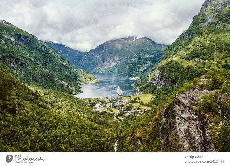 Geiranger Fjord, Norway Vacation & Travel Tourism Trip Sightseeing Cruise Expedition Mountain Hiking Human being Group Nature Landscape Elements Clouds Bay