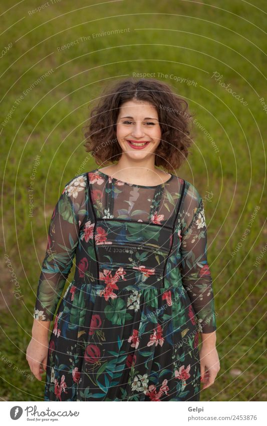 Happy curvy girl with curly hair Lifestyle Beautiful Hair and hairstyles Make-up Lipstick Human being Woman Adults Fashion Dress Smiling Friendliness Large Cute