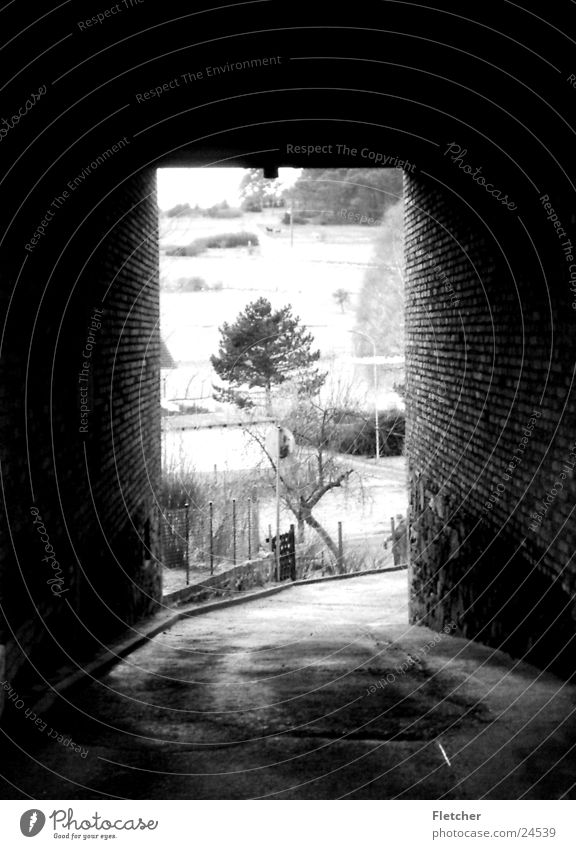 Dark Building Bright Architecture End Tunnel Passage Gray scale value