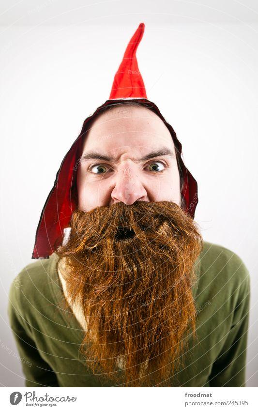 Human being Man Adults Funny Masculine Wild Hair Crazy Threat Curiosity Carnival Cap Brunette Trashy Bizarre Brash
