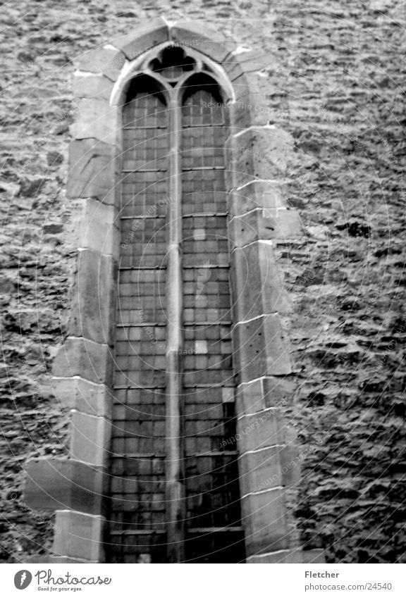 Old White Black Window Stone Wall (barrier) Religion and faith Glass Construction site Transparent God Deities House of worship Gray scale value Mortar
