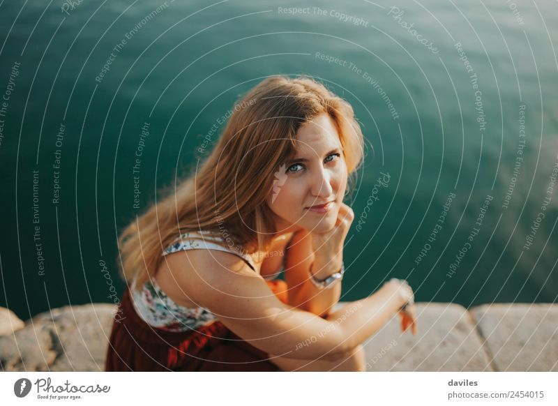 Young woman outdoors portrait at sunset. Woman Human being Vacation & Travel Youth (Young adults) Summer Beautiful Water White Ocean 18 - 30 years Adults