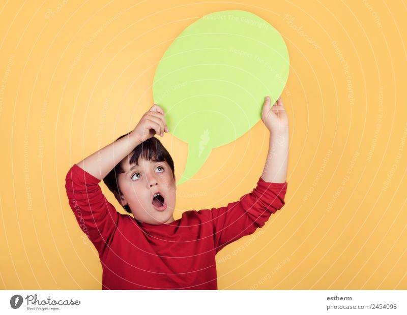 child with speech bubble Child Human being Joy Lifestyle To talk Funny Emotions Boy (child) Happy Playing Design Masculine Communicate Infancy