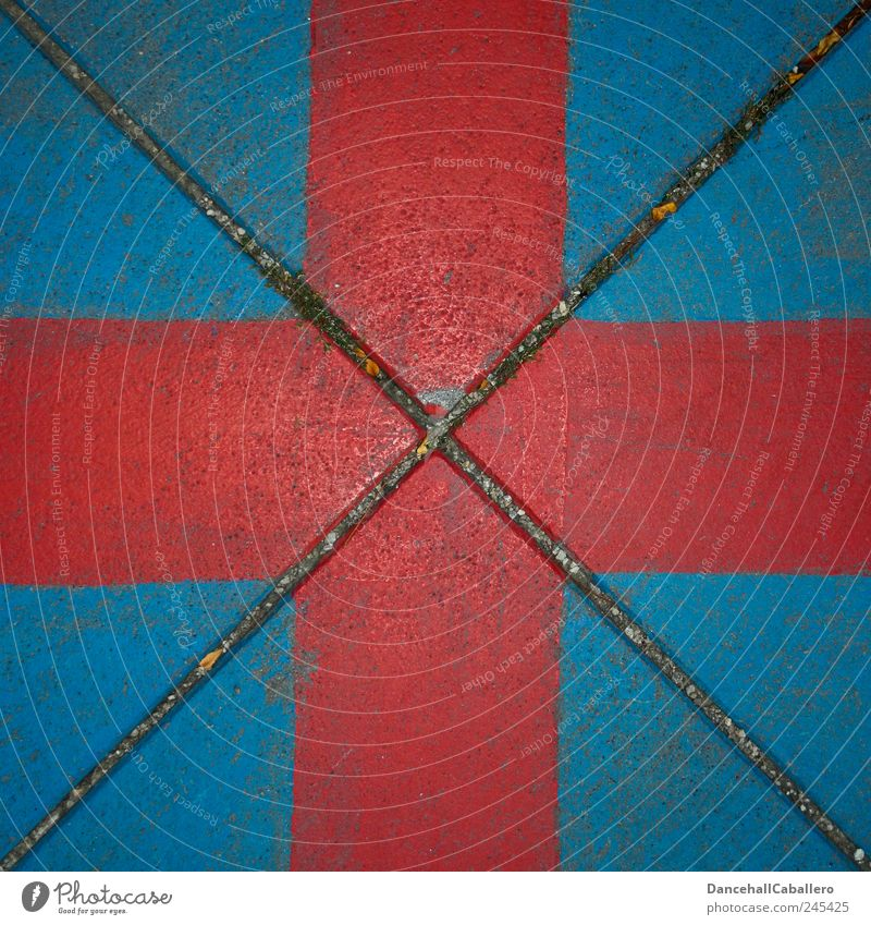 Red cross on blue background Art Street Stone Crucifix Sharp-edged Uniqueness Modern Original Blue Diagonal Geometry Corner Triangle Dirty Middle Square