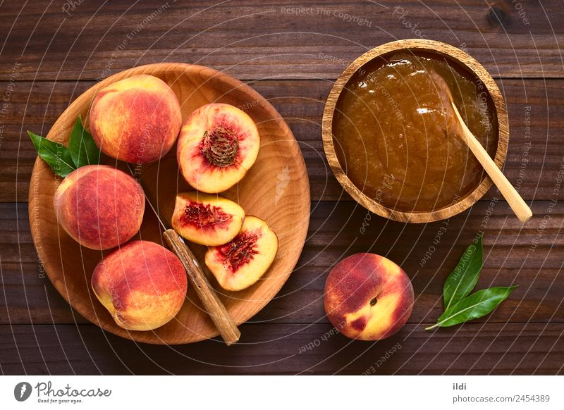 Peach Jam or Jelly Fruit Breakfast Fresh food jelly Spread sweet Snack drupe Rustic confiture Top overhead Horizontal ingredient ripe top view marmalade