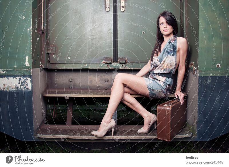 #245448 Style Beautiful Vacation & Travel Tourism Feminine Woman Adults Life Public transit Train travel Passenger train Train station Platform Fashion Dress