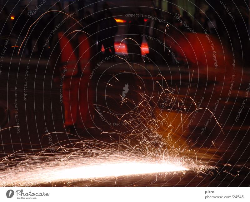 track works Railroad tracks Construction site Night Long exposure Tram Light Machinery Physics Spark Train station Energy industry Warmth