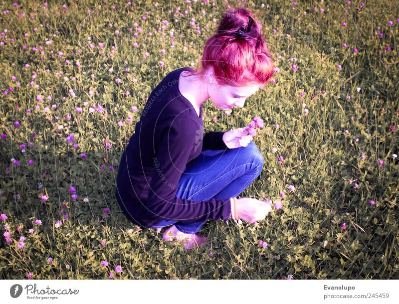 flower child Feminine Young woman Youth (Young adults) Woman Adults Infancy 1 Human being Blossoming Pick Girlish Childlike Flower Colour photo Subdued colour