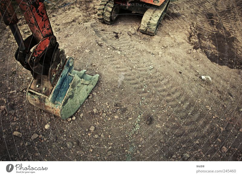excavator Work and employment Construction site Closing time Advancement Transport Lanes & trails Vehicle Stand Wait Skid marks Dirty Large Strong Excavator