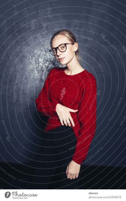 stylish student with glasses and a color sweater Feminine Young woman Youth (Young adults) Adults Body Skin Head Arm 1 Human being 18 - 30 years Clothing