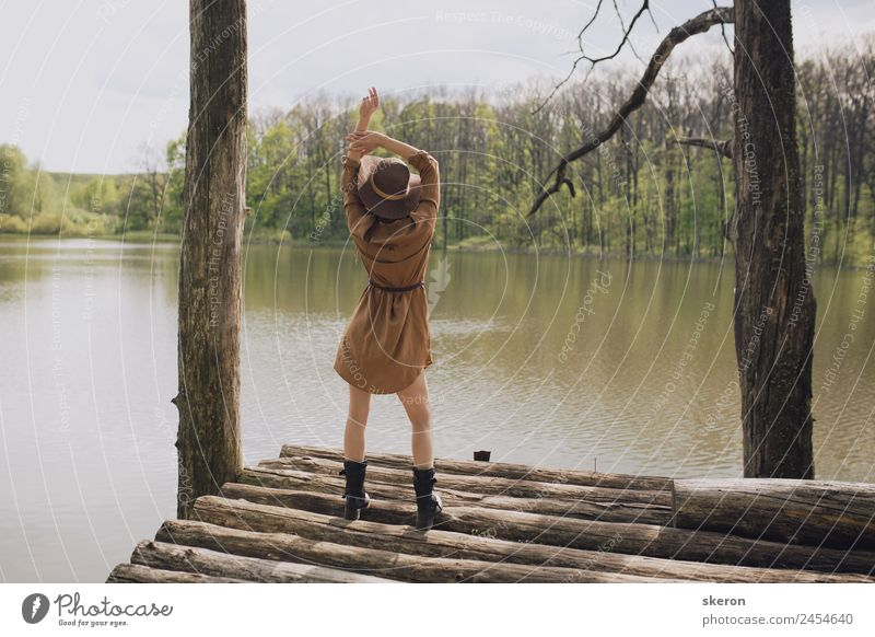 girl traveler posing on the background of the lake Feminine Young woman Youth (Young adults) Adults Body Head 1 Human being 18 - 30 years Environment Nature