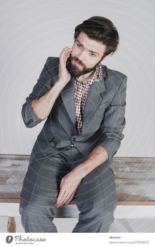 bearded guy in a retro jacket Human being Youth (Young adults) Man Loneliness 18 - 30 years Lifestyle Adults Exceptional Fashion Leisure and hobbies Masculine