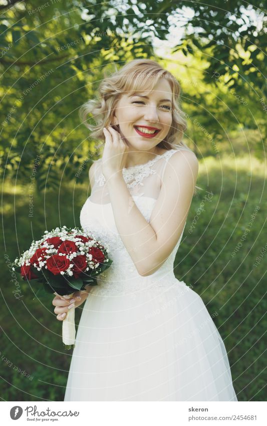 smiling bride with a bouquet Human being Nature Youth (Young adults) Young woman Plant Beautiful Landscape Sun 18 - 30 years Adults Environment Feminine Garden