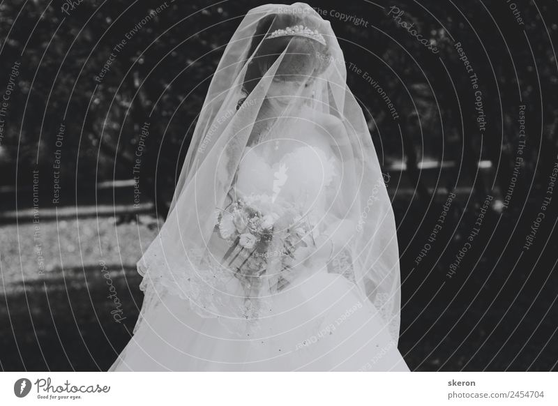 Sad Bride In Wedding Dress And Long Veil A Royalty Free Stock Photo From Photocase