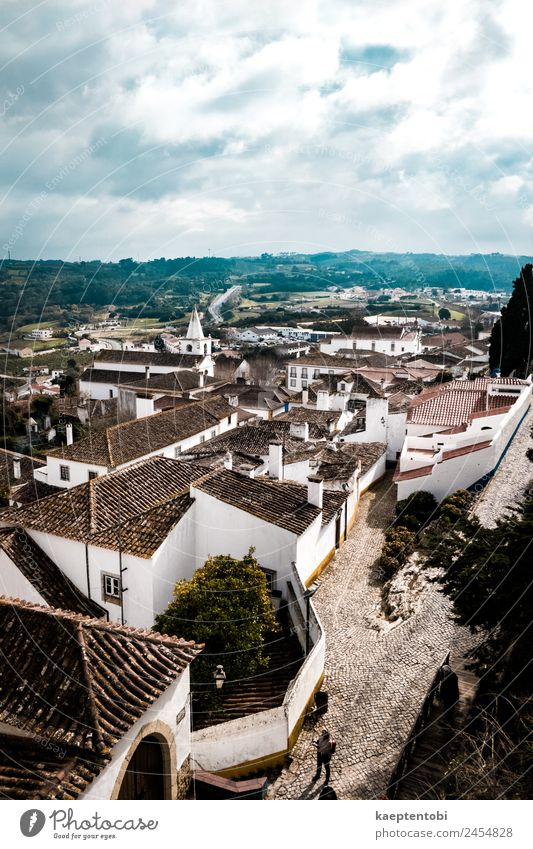 Above Historical Obidos Leisure and hobbies Vacation & Travel Tourism Trip Sightseeing City trip 1 Human being Clouds Sun Portugal Europe Village Small Town