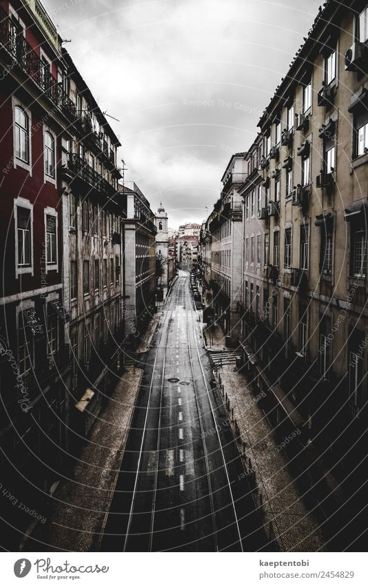 Empty Streets Of Lisboa Vacation & Travel Summer Town Clouds Winter Autumn Spring Tourism Moody Trip Leisure and hobbies Rain Weather Europe Wind