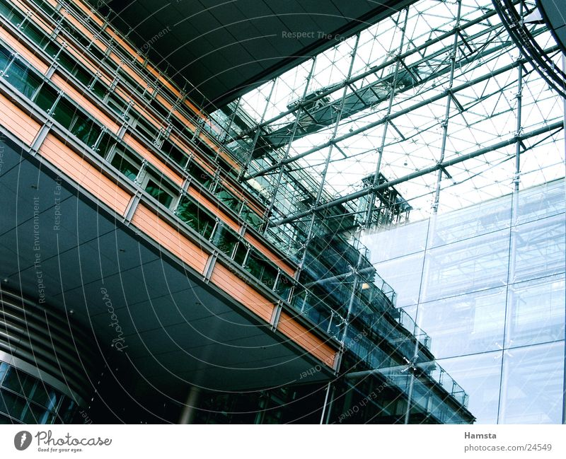 Light and Glass 2 Facade House (Residential Structure) Balcony Light and shadow Reflection Steel Worm's-eye view Potsdamer Platz Window Architecture Blue Colour