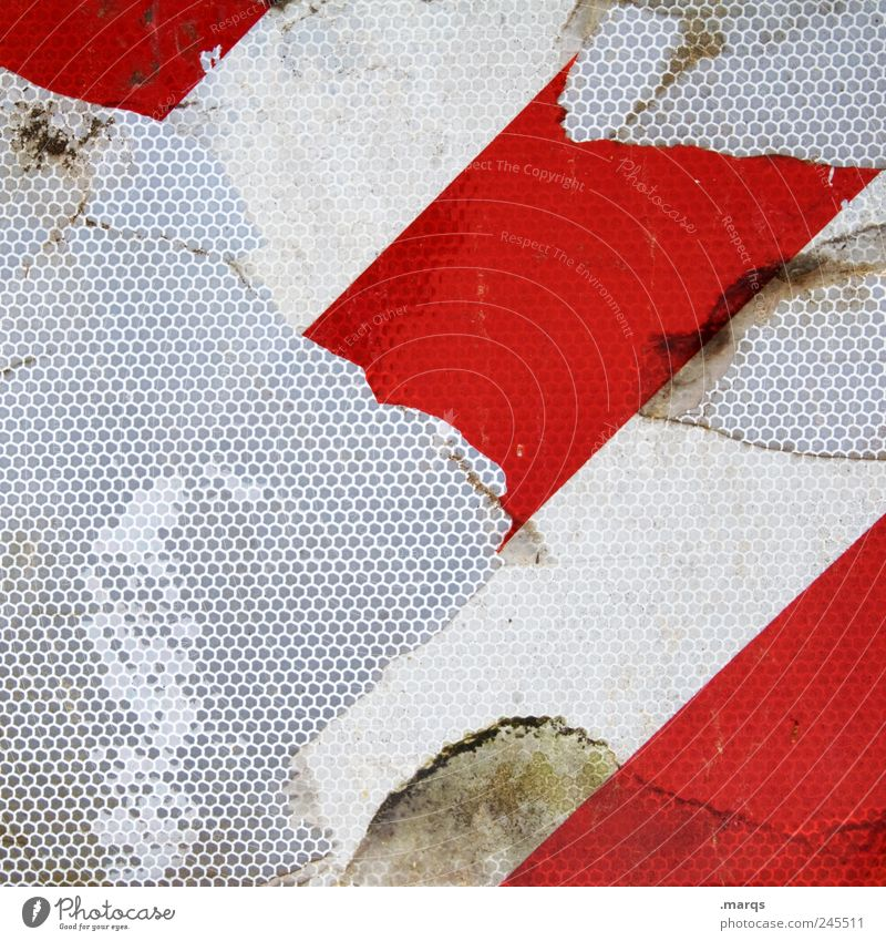 outline Design Road sign Line Stripe Dirty Uniqueness Broken Red White Colour Transience Honeycomb Honeycomb pattern Countdown marker Colour photo Close-up