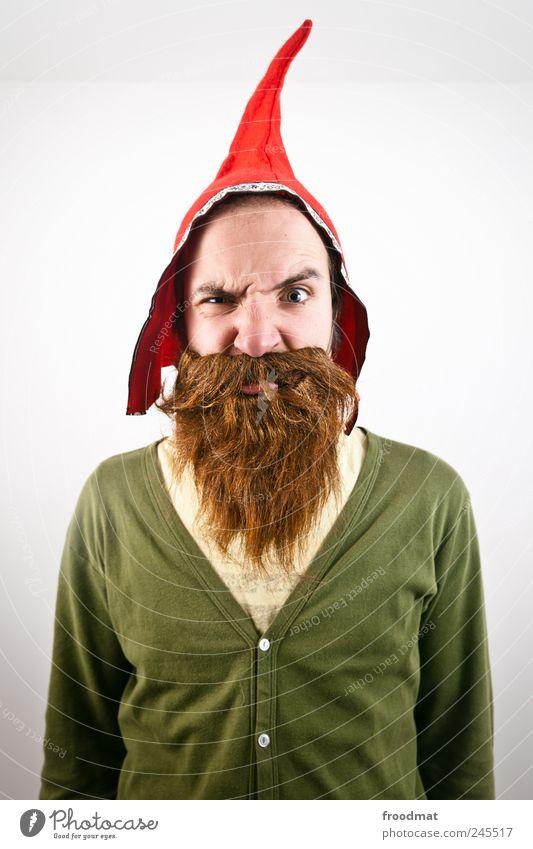 expert Carnival Human being Masculine Man Adults Cap Brunette Red-haired Beard Hair Threat Brash Funny Curiosity Crazy Trashy Wild Disbelief Mistrust